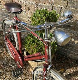 1959 Rudge Super Safety Burgundy. Raleigh pump. Rare original vintage bicycle