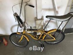 1960's RARE Huffy Super Sport 1 Rail Banana Seat Muscle Bike 24 Yellow Vintage