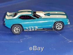Afx Cuda Funny Car Blue/white Fast Mean Green Arm Ho Slot = Vintage Super Rare