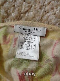 Auth Christian Dior Vintage Wool Silk Cashmere Tank Top Size Xs Rare