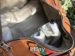 Auth GUCCI Leather Vintage Web Tobacco Medium Boston Bag Super Rare