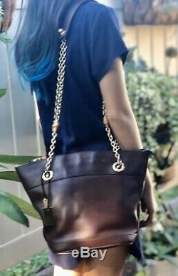 Auth GUCCI Vintage Wine Red Leather Chain /Bucket Shoulder Bag Super Rare
