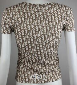 Authentic CHRISTIAN DIOR Vintage Rare Monogram Brown Flowers Tee T-Shirt IT 42 S
