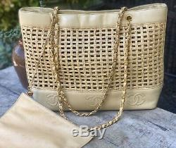 Authentic Chanel Vintage Woven/Wicker Trip Luco Tote BagSuper Rare