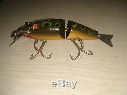 Creek Chub Wiggle Fish Frog Super Rare Glass Eye Wood VTG Antique Fishing lure