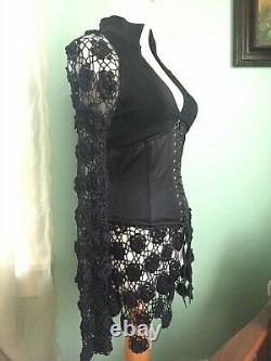 Exquisite Vintage 90s Gothic Corset Top Crochet Sleeves Black XS INCREDIBLY RARE