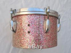Gretsch Super Rare! Round Badge Peacock Sparkle Bongos And Stand 8+ 6 Vintage