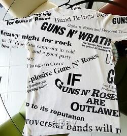 Guns N Roses 1991 tour XL SUPER RARE All over newspaper print VINTAGE T Shirt