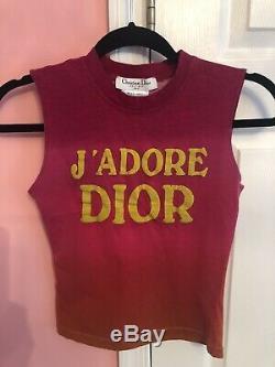 HOT! Rare Vtg Christian Dior by John Galliano Pink Ombre J'adore Dior Crop Top
