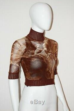 JEAN PAUL GAULTIER rare vtg jpg desert print mesh sheer crop top shirt XS