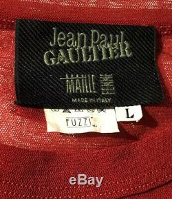 Jean Paul Gaultier Vintage VTG RARE RED Mesh Top Embroidery Eye Lip Applique