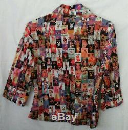 PLAYBOY Shirt Blouse RARE Vintage Magazine Covers Women's Sz M 3/4 Length Sleeve