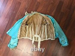 RARE Antique Victorian Children Kid Blue Silk Bodice Blouse with Lace Trim AS IS