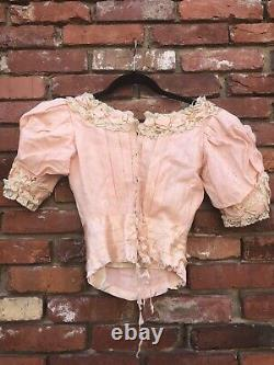 RARE Antique Victorian French Pink Cotton Bodice With Lace Trim AS IS