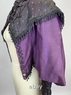 RARE Antique Victorian Purple silk Bridgerton corset bodice with jet beads AS IS