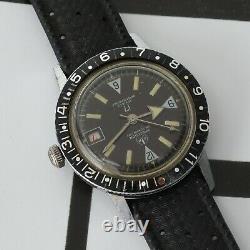 RARE Vintage Diver Watch Ollech & Wajs OW Black Dial Super Cool Running 37.8mm