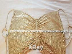 RARE Vintage Whiting Davis gold metal mesh / chainmail shirt / top, disco