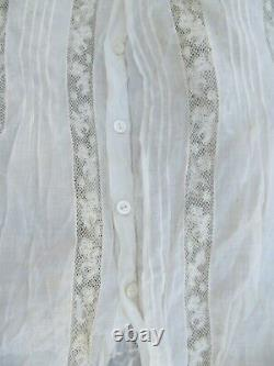 REALLY RARE Antique Lady's Fancy Lace Victorian Standing Collar Blouse, c. 1880