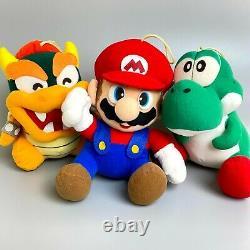 Rare 1996 Super Mario World Nintendo Plush Mario Yoshi Bowser 3 Body Set vintage