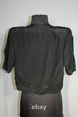 Rare French 1940's Wwii Era Black Rayon Crepe Blouse Size 36-38