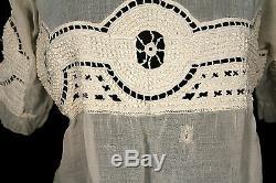 Rare French Antique Victorian-edwardian Era Tea Color Cotton Lace Blouse Size 40