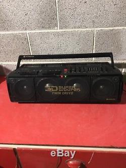 Rare Hitachi TRK 3D80E Super Woofer Boombox Ghetto Blaster. 1988 Vintage Retro