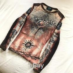 Rare Jean Paul Gaultier S/S 1996 Safe Sex Forever Tattoo Mesh Top Vintage