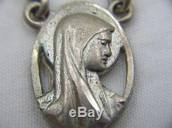 Rare Super Unique Vintage Signed Sterling Fully Caged Moonglow Rosary 33