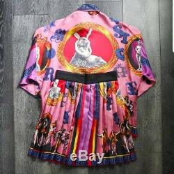 Rare Vintage Gianni Versace Silk Shirt & Skirt 100% Silk Dancing Women