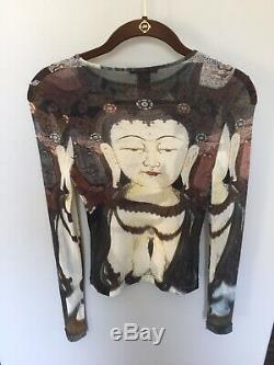 Rare Vivienne Tam Kuan Yin Long Sleeve Sheer shirt VINTAGE SZ 1