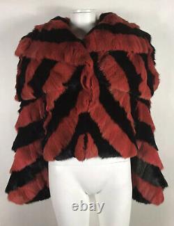 Rare Vtg Alexander McQueen AW2009 Horn of Plenty Runway Red & Black Fur Jacket S