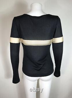 Rare Vtg Alexander McQueen Black 1998 Knit Sheer Panel Top L