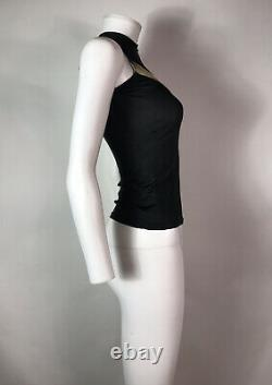 Rare Vtg Alexander McQueen Black Sheer Slash Top 1998 XS