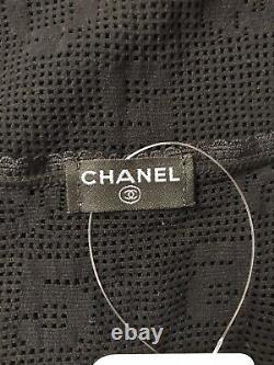 Rare Vtg Chanel Black Net Logo Tank Top M