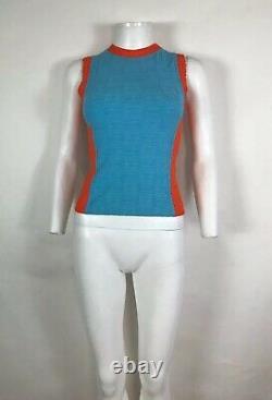 Rare Vtg Chanel Blue Orange CC Logo Tank Top XS 36