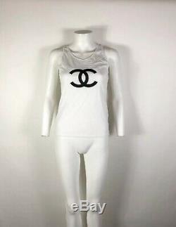 Rare Vtg Chanel White Black CC Logo Cotton Silk Tank Top XS 34