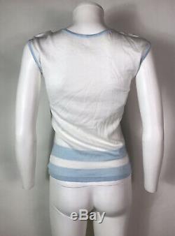 Rare Vtg Chanel White Blue CC Logo Knit Top 38 S