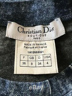 Rare Vtg Christian Dior By John Galliano Denim Print Tee XS