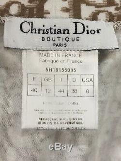 Rare Vtg Christian Dior Light Brown Trotter Monogram Tank Top S 40
