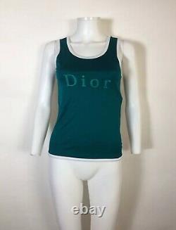 Rare Vtg Christian Dior Sports Teal Green Logo Tank Top M
