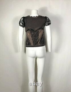 Rare Vtg Christian Dior by John Galliano 2006 Cashmere & Silk Lace Print Top S