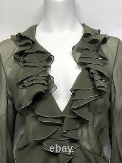 Rare Vtg Christian Dior by John Galliano AW2003 Sparkle Green Ruffle Silk Top M