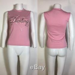 Rare Vtg Christian Dior by John Galliano Adiorable Pink Tank Top S
