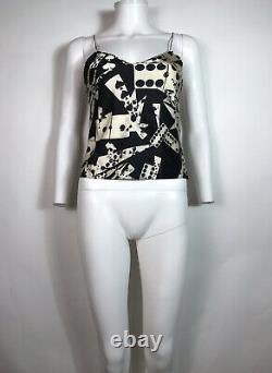 Rare Vtg Christian Dior by John Galliano Black Domino Print Top S