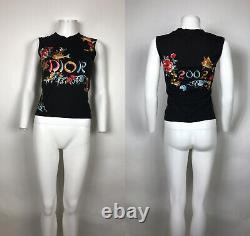 Rare Vtg Christian Dior by John Galliano Black Embroided Fish Logo Tank Top XS