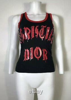 Rare Vtg Christian Dior by John Galliano Black Gothic Logo Tank Top S