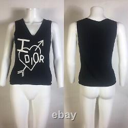 Rare Vtg Christian Dior by John Galliano Black Knit Tank Top S