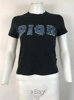Rare Vtg Christian Dior by John Galliano Black Logo Top S