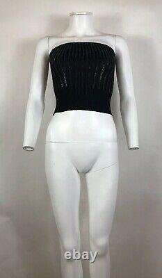 Rare Vtg Christian Dior by John Galliano Black Sequin Knit Tube Top S