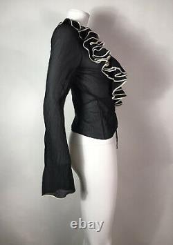 Rare Vtg Christian Dior by John Galliano Black Silk Ruffle Top SS2002 XS